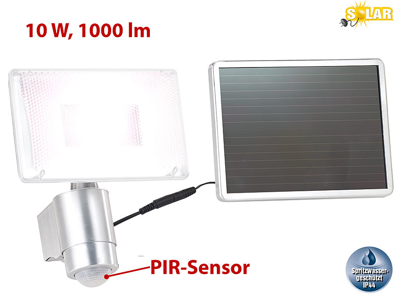 Luminea Solar-LED-Strahler aus Aluminium mit PIR-Sensor, 10 W, 1.000 ...