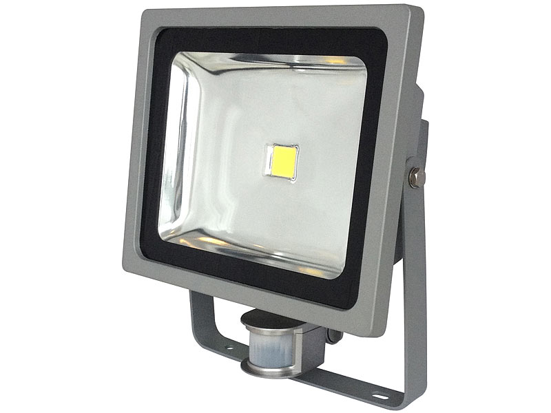 luminea cob led fluter im metallgeh use 50 w ip44 pir 6500 k. Black Bedroom Furniture Sets. Home Design Ideas
