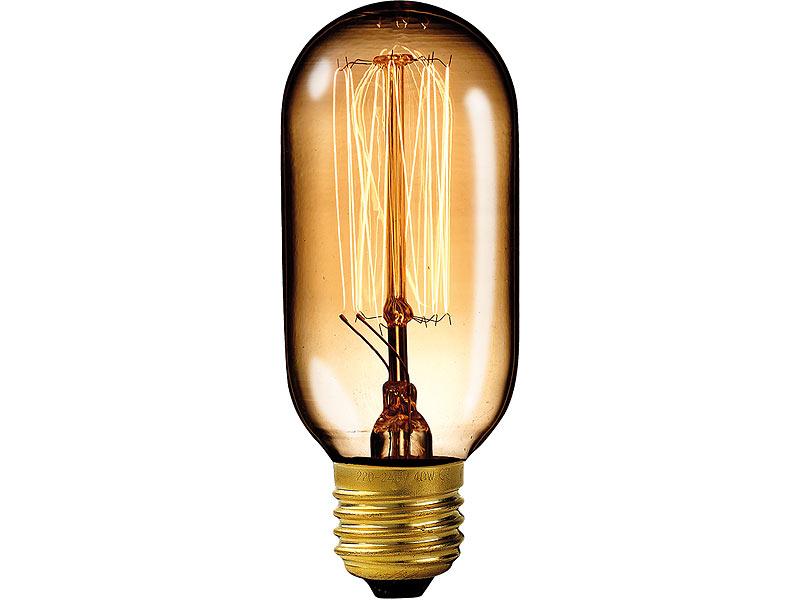 Luminea Vintage-Schmucklampe, Tubular, mit gitterförmigem Glühdraht