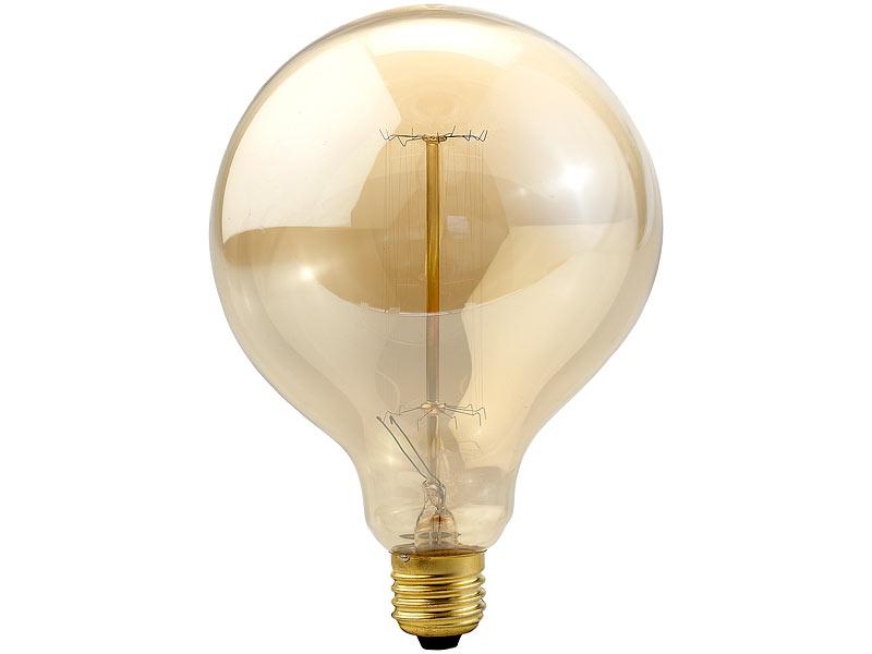 Luminea Vintage-Globe-Schmucklampe mit gitterförmigem Glühdraht ...