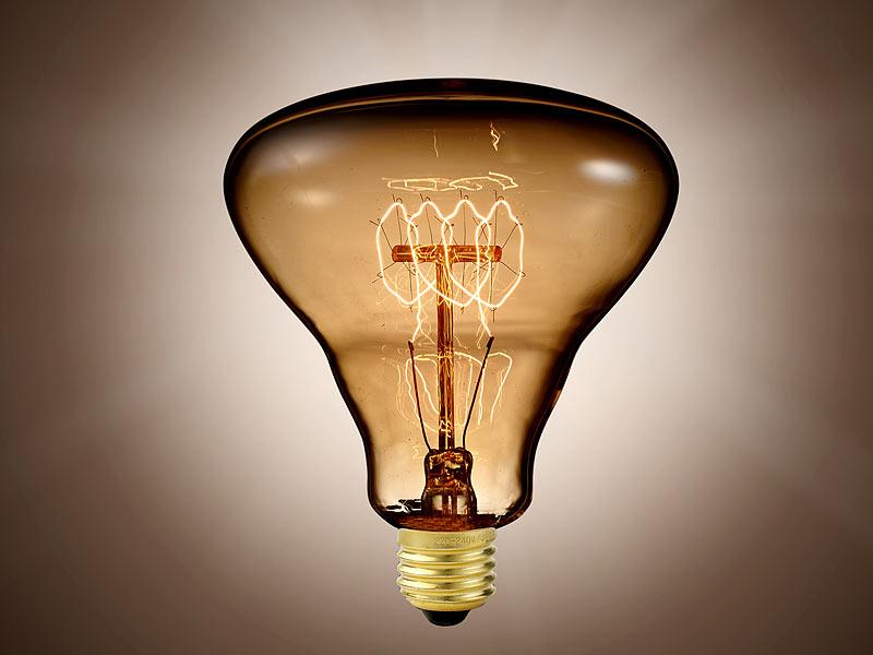 Luminea Vintage-Schmucklampe, Kolben, mit gitterförmigem Glühdraht