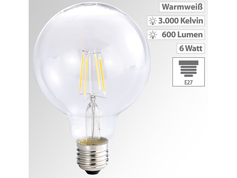 luminea led filament globelampe g95 a e27 6 watt. Black Bedroom Furniture Sets. Home Design Ideas