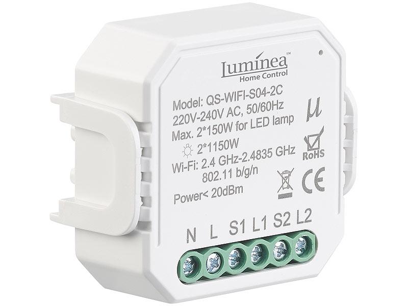 WLAN-Unterputz-2-Kanal-Lichtschalter mit App /& Sprachsteuerung