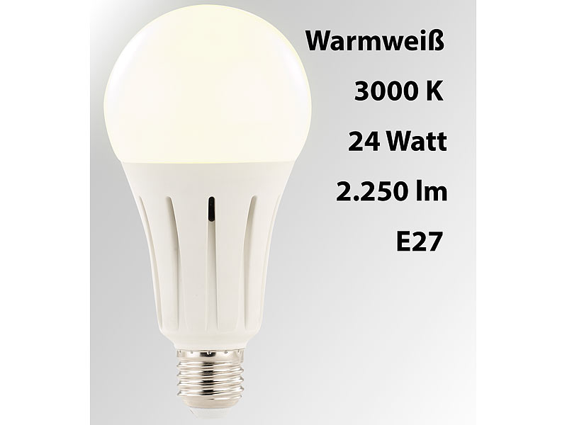 Luminea High Power Led Lampe E27 24 Watt 2 250 Lumen Warmweiss 3 000 K