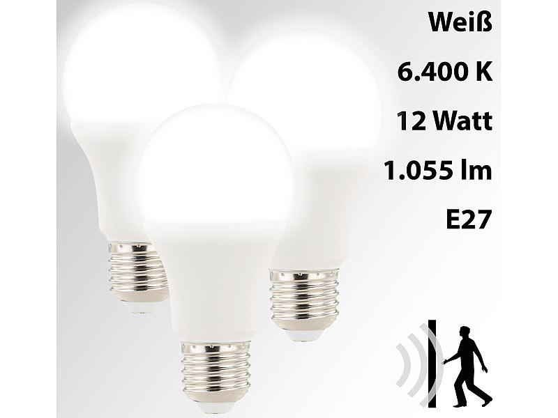 luminea 3 led lampen mit radar bewegungssensor 12 w e27 k tw. Black Bedroom Furniture Sets. Home Design Ideas