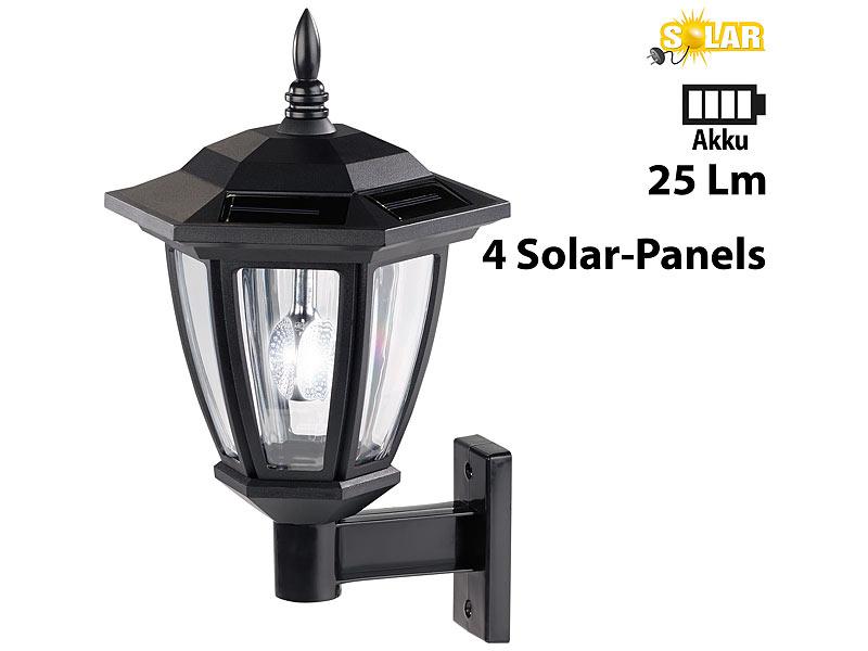 Luminea Nostalgische Solar-LED-Wand-Leuchte für außen, weißes Licht ...