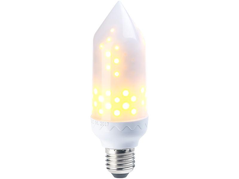 Luminea LED-Flammen-Lampe mit realistischem Flackern, E27, 5 W, 304 ...