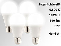 Luminea LED-Lampe E27, 10 Watt, 840 Lumen, A+, tageslichtweiß 6.500 K, 4er-Set; LED-Spots GU10 (warmweiß), LED-Tropfen E27 (tageslichtweiß) LED-Spots GU10 (warmweiß), LED-Tropfen E27 (tageslichtweiß)