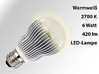 Luminea High-Power LED-Lampe, warmweiß, 2700K, 420 lm, 6 Watt; LED-Spots GU10 (warmweiß), LED-Tropfen E27 (tageslichtweiß) LED-Spots GU10 (warmweiß), LED-Tropfen E27 (tageslichtweiß)
