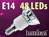 Luminea SMD-LED-Lampe E14, 48 LEDs, warmweiß, 250 lm