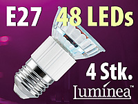 Luminea SMD-LED-Lampe, E27 48 LEDs, warmweiß, 250-260lm, 4er-Set; LED-Tropfen E27 (warmweiß)