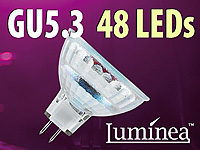 Luminea SMD-LED-Lampe, GU5.3, 48 LEDs, blau, 20 lm