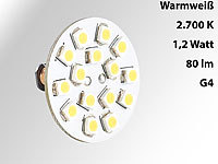 Luminea LED-Stiftsockellampe G4 (12V), 15 SMD LEDs warmweiß, horizontal, 120°