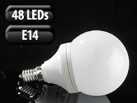 Luminea SMD-LED-Lampe Classic, 48 LEDs, warmweiß, E14, 190 lm