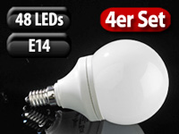 Luminea SMD-LED-Lampe Classic, 48 LEDs, warmweiß, E14, 190 lm, 4er-Set