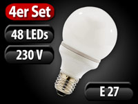 Luminea SMD-LED-Lampe Classic E27, 48 LEDs, 6800 K, 220 lm, 4er-Set; LED-Tropfen E27 (warmweiß)