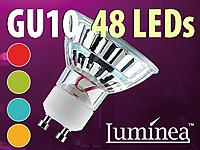 Luminea SMD-LED-Lampe mit Farbwechsler, GU10, 48 LEDs, 19 lm