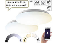 Luminea Home Control 2er-Set WLAN-LED-Deckenleuchten für Amazon Alexa&Google Assistant, 18W; WLAN-Steckdosen mit Stromkosten-Messfunktion, WLAN-LED-Lampen E27 RGBW WLAN-Steckdosen mit Stromkosten-Messfunktion, WLAN-LED-Lampen E27 RGBW WLAN-Steckdosen mit Stromkosten-Messfunktion, WLAN-LED-Lampen E27 RGBW