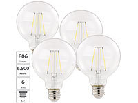 Luminea 4er Pack LED-Filament-Birne, E27, A++, 6 W, 806 lm, 360°; LED-Tropfen E27 (warmweiß) LED-Tropfen E27 (warmweiß) LED-Tropfen E27 (warmweiß) LED-Tropfen E27 (warmweiß)