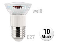 Luminea SMD-LED-Lampe, E27, 60 LEDs, 4,5W, weiß, 350-370 lm, 10er-Set; LED-Tropfen E27 (warmweiß)