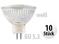 Luminea SMD-LED-Lampe, GU5.3, 60 LEDs, weiß, 230 lm, 10er-Set