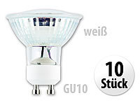 Luminea SMD-LED-Lampe, GU10, 60 LEDs, 4,5W, weiß, 350-370 lm, 10er-Set
