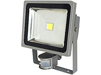 Luminea COB-LED-Fluter mit Metallgehäuse, 30 W, IP44, PIR, 4200 K; LED-Spots GU10 (warmweiß) LED-Spots GU10 (warmweiß) LED-Spots GU10 (warmweiß)
