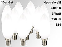 Luminea SMD-LED-Kerzenlampe, 3 Watt, E14, B35, 250 lm, weiß, 10er-Set