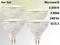 Luminea 4er-Set LED-Spotlight, Glasgehäuse, GU5.3, 2,5 W, 12 V, 240 lm, weiß