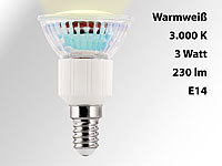 Luminea LED-Spot Sockel E14, 3 Watt, warmweiß, 3000 K, 240 Lumen