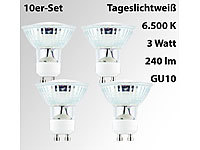 Luminea LED-Spotlight m. Glasgehäuse, GU10, 3 W, 230V, 240 lm, 6500 K, 4er-Set