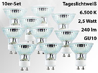 Luminea LED-Spotlight m. Glasgehäuse, GU10, 2,5W, 230 V, 240 lm, weiß,10er-Set