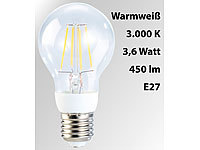 Luminea LED-Filament-Birne, 3,6 W, E27, warmweiß, 3000 K, 450 lm, 360°
