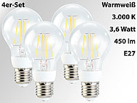 Luminea LED-Filament-Birne, 3,6W, E27, warmweiß, 450 lm, 360°, 4er-Set