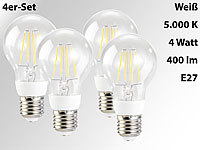 Luminea LED-Filament-Lampen, 4 Watt, E27, weiß, 400 lm, 360°, 4er-Set