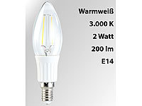 Luminea LED-Filament-Kerze, B35, 2 W, E14, warmweiß, 200 lm, 360°