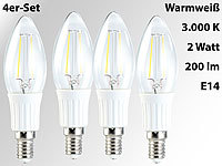 Luminea LED-Filament-Kerze, 2W, E14, warmweiß, 200 lm, 360°, 4er-Set