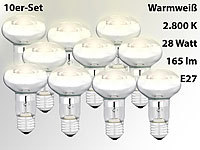 Luminea Halogen-Reflektor, R63, E27, 165 Lumen, 28 Watt, warmweiß, 10er-Set
