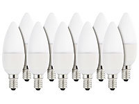 Luminea LED-Kerzenlampe, 6 W, E14, B35, 470 lm, warmweiß, 10er-Set