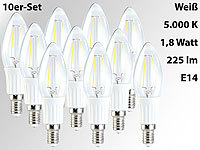 Luminea LED-Filament-Kerze, B35, 1,8 Watt, E14, weiß, 225 lm, 360°, 10er-Set