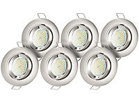Luminea 6er-Set Einbaurahmen MR16, Nickel, inkl. LED-Spotlights, 3 W, weiß; LED-Spots GU10 (warmweiß) LED-Spots GU10 (warmweiß) LED-Spots GU10 (warmweiß) LED-Spots GU10 (warmweiß)
