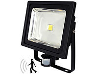 Luminea COB-LED-Fluter 50 W mit PIR-Sensor, 4200 K, IP44, schwarz; LED-Spots GU10 (warmweiß) LED-Spots GU10 (warmweiß) LED-Spots GU10 (warmweiß)
