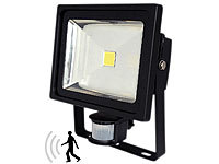 Luminea COB-LED-Fluter 50 W mit PIR-Sensor, 6500 K, IP44, (refurbished)