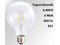 Luminea LED-Filament-Globelampe, G95, A++, E27, 6 W, 600lm, 360°, 6400K; LED-Tropfen E27 (warmweiß) LED-Tropfen E27 (warmweiß)