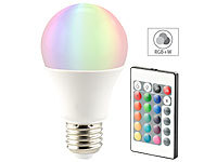 Luminea LED-Lampe, Color RGB & Warmweiß, E27, 10 Watt, mit Fernbedienung