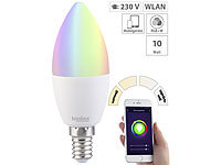 Luminea WLAN-LED-Lampe, kompat. zu Amazon Alexa & Google Assistant, E14, RGB+W