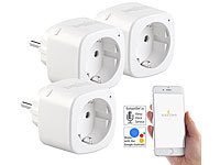 Luminea Home Control 3er-Set WLAN-Steckdosen, Amazon Alexa & Google Assistant komp., 16 A; WLAN-Steckdosen mit Stromkosten-Messfunktion WLAN-Steckdosen mit Stromkosten-Messfunktion WLAN-Steckdosen mit Stromkosten-Messfunktion