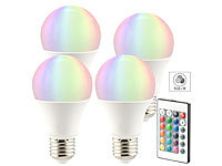 Luminea LED-Lampe in RGB + Warmweiß, E27, 10 Watt, Fernbedienung, 4er-Set