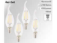 Luminea 4er-Set LED-Filament-Kerzen, E14, A+, 4 W, 470 Lm, warmweiß, Ba35
