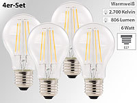 Luminea LED-Filament-Birne, E27, A++, 6 W, 806 Lumen, 360°, warmweiß, 4er-Set
